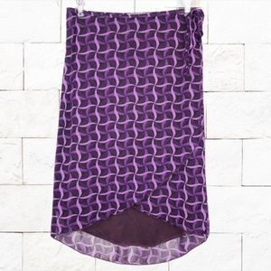 Purple Abstract Multi Layer Wrap Pencil Skirt M